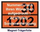 Ziffern-Warntafel, magnetisch, mit Wunsch-Aufdruck