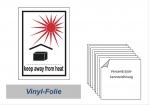"""Label """"Vor Sonne + Wärme schützen"""""""