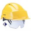 Schutzhelm mit integrierter Schutzbrille DIN EN 397 und EN 166 / gelb