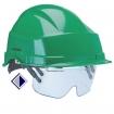 Schutzhelm mit integrierter Schutzbrille DIN EN 397 und EN 166 / grün