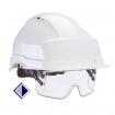 Schutzhelm mit integrierter Schutzbrille DIN EN 397 und EN 166 / weiß