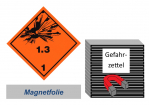 Gefahrzettel 100x100 magnetisch - Gefahrgutklasse 1.3