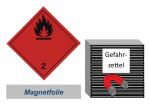 Gefahrzettel 100x100 magnetisch - Gefahrgutklasse 2.1