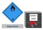 Gefahrzettel 100x100 magnetisch - Gefahrgutklasse 4.3