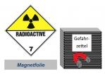Gefahrzettel 100x100 magnetisch - Gefahrgutklasse 7(D)