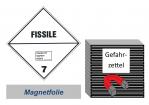 Gefahrzettel 100x100 magnetisch - Gefahrgutklasse 7E spaltbar