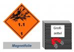 Grosszettel 300x300 magnetisch - Gefahrgutklasse 1.1