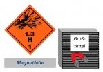 Grosszettel 250x250 magnetisch - Gefahrgutklasse 1.3 H