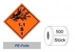 Gefahrzettel 100x100 PE-Folie - Gefahrgutklasse 1.1 S