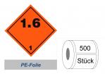 Gefahrzettel 100x100 PE-Folie - Gefahrgutklasse 1.6
