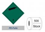 Gefahrzettel 100x100 PE-Folie - Gefahrgutklasse 2.2