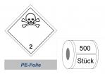 Gefahrzettel 100x100 PE-Folie - Gefahrgutklasse 2.3