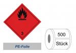 Gefahrzettel 100x100 PE-Folie - Gefahrgutklasse 3