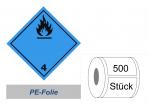 Gefahrzettel 100x100 PE-Folie - Gefahrgutklasse 4.3
