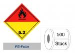 Gefahrzettel 100x100 PE-Folie - Gefahrgutklasse 5.2