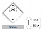 Gefahrzettel 100x100 PE-Folie - Gefahrgutklasse 6.1