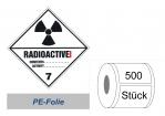 Gefahrzettel 100x100 PE-Folie - Gefahrgutklasse 7A