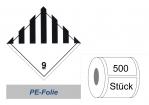 Gefahrzettel 100x100 PE-Folie - Gefahrgutklasse 9