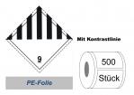 Gefahrzettel 100x100 PE-Folie - Gefahrgutklasse 9 mit Kontrastrand