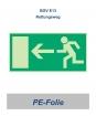 "Rettungsweg-Schild PE ""links"" 297x148"