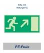 """Rettungsweg-Schild PE """"rechts hoch"""" 297x148"""