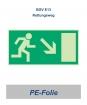 """Rettungsweg-Schild PE """"rechts runter"""" 297x148"""