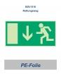 "Rettungsweg-Schild PE ""unten"" 297x148"