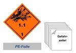 Gefahrzettel 100x100 PE-Folie - Gefahrgutklasse 1.1