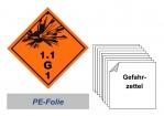 Gefahrzettel 100x100 PE-Folie - Gefahrgutklasse 1.1 G