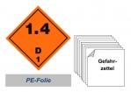 Gefahrzettel 100x100 PE-Folie - Gefahrgutklasse 1.4 D