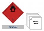 Gefahrzettel 100x100 PE-Folie - Gefahrgutklasse 2.1