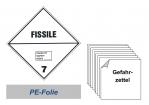 Gefahrzettel 100x100 PE-Folie - Gefahrgutklasse 7E spaltbar