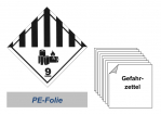 Gefahrzettel 100x100 PE-Folie - Gefahrgutklasse 9A Lithium