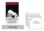 """Warnkennzeichnung Kühlmittel """"Kohlendioxid"""" auf PE-Folie"""