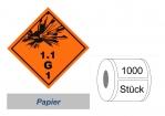 Gefahrzettel 100x100 Papier - Gefahrgutklasse 1.1 G