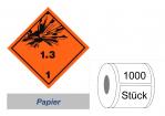 Gefahrzettel 100x100 Papier - Gefahrgutklasse 1.3