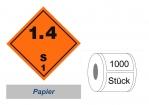 Gefahrzettel 100x100 Papier - Gefahrgutklasse 1.4 S