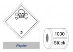 Gefahrzettel 100x100 Papier - Gefahrgutklasse 2.3
