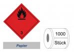 Gefahrzettel 100x100 Papier - Gefahrgutklasse 3