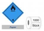 Gefahrzettel 100x100 Papier - Gefahrgutklasse 4.3