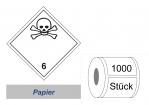 Gefahrzettel 100x100 Papier - Gefahrgutklasse 6.1