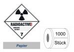Gefahrzettel 100x100 Papier- Gefahrgutklasse 7A