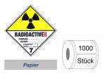 Gefahrzettel 100x100 Papier - Gefahrgutklasse 7B