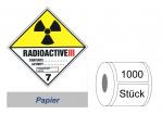 Gefahrzettel 100x100 Papier - Gefahrgutklasse 7C