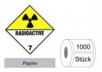 Gefahrzettel 100x100 Papier - Gefahrgutklasse 7(D)