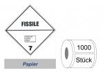 Gefahrzettel 100x100 Papier - Gefahrgutklasse 7E spaltbar