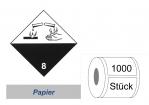 Gefahrzettel 100x100 Papier - Gefahrgutklasse 8