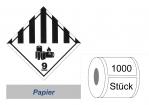 Gefahrzettel 100x100 Papier - Gefahrgutklasse 9A Lithium