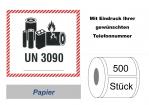 "Label UN 3090 ""Lithium-Metall-Batterien"" 2017"