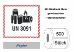 "Label UN 3091 ""Lithium-Metall-Batterien"""